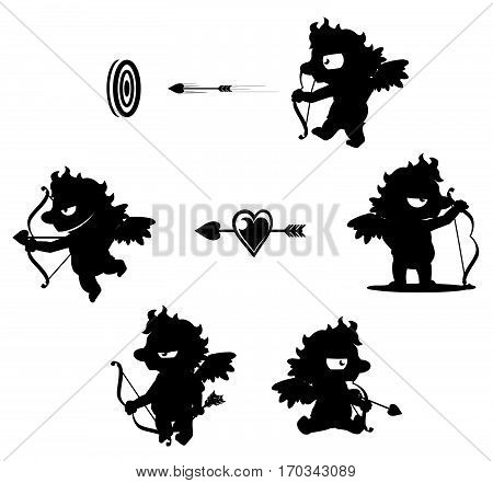 Valentine cartoon cupid baby character black silhouettes, vector illustration, horizontal, isolated, over white