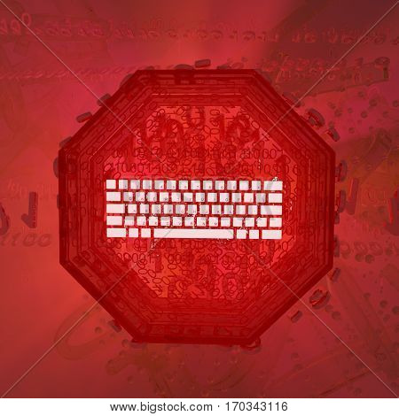 Virtual digits abstract 3d illustration red stop sign square with keyboard