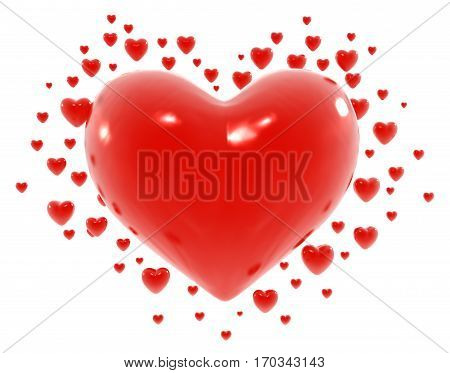 Symbol red hearts valentine 3d illustration isolated horizontal over white