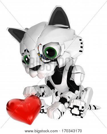 Robotic kitten with heart 3d illustration vertical isolated