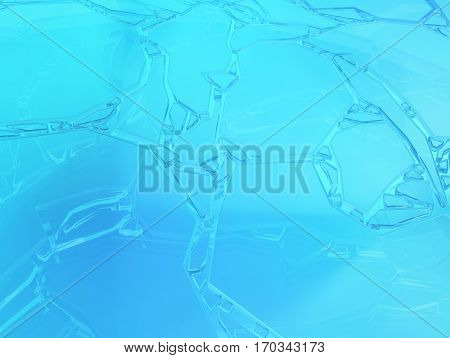 Icy cracked surface blue abstract frozen 3d illustration horizontal background