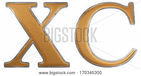 Roman Numeral Xc, Nonaginta, 90, Ninety, Isolated On White Background, 3D Render