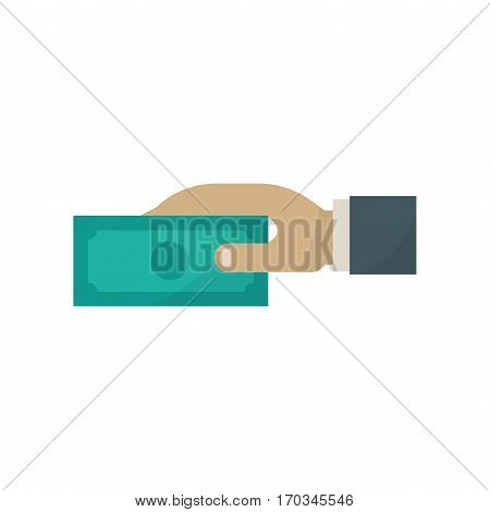 Hands with paper money on white background. Putting money concept of savings donation paying. Banking cash business human vector financial illustration.