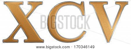 Roman Numeral Xcv, Quinque Et Nonaginta, 95, Ninety Five, Isolated On White Background, 3D Render