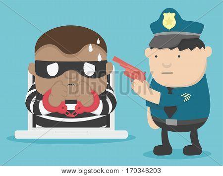 illustration arrest criminal cyber attack eps .10