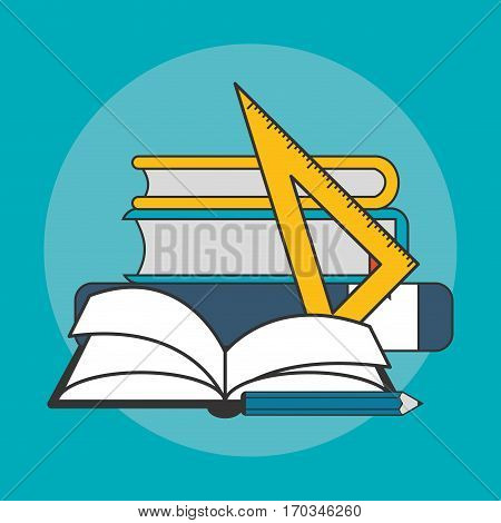 books and pencil icon over blue background. colorful design. vector illustraiton