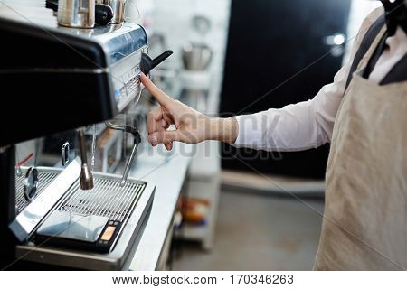 Working by coffee-machine
