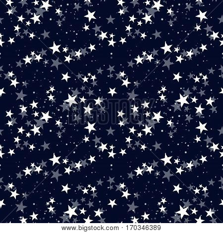 Seamless vector pattern with white stars on dark blue sky. Background for dress, manufacturing, wallpapers, prints, gift wrap and scrapbook.