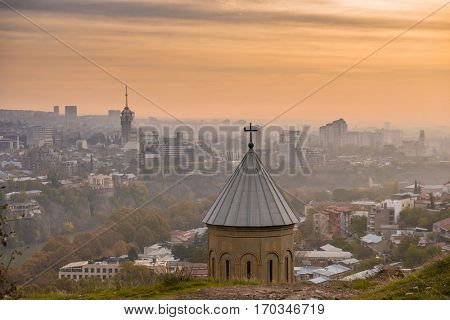 Old domes of the catherdral in Tbilisi, Georgia in the evening, bird's-eye view