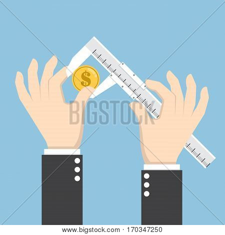 Businessman Hand Measuring Dollar Coin With Calipers
