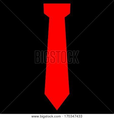 Tie vector icon symbol. Flat pictogram designed with red and isolated on a black background.