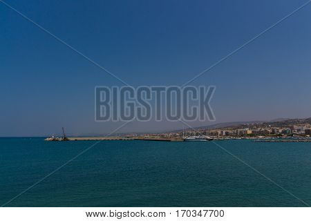 Rethymno, Greece - July  30, 2016:  Panoramic View To Rethymno From The Venetian Harbour.