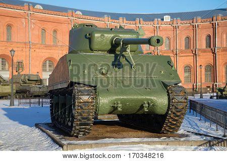 SAINT PETERSBURG, RUSSIA - JANUARY 20, 2017: American tank M4A2