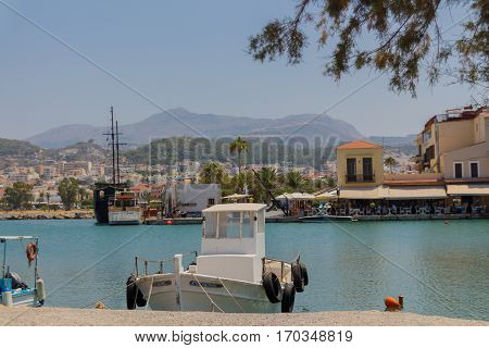 Rethymno, Greece - July  30, 2016: Boats In The Venetian Harbour.