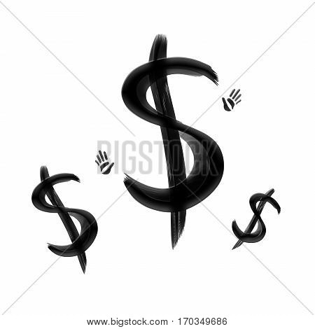 Black painted dollar signs and hand prints isolated on white background. Business and finance. Oil and gas industry. Investment and banking.