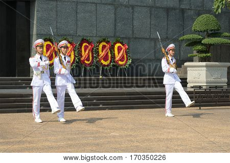 HANOI, VIETNAM - JANUARY 10, 2017: Divorce of guard of honor at Ho Chi Minh's mausoleum Hanoi, Vietnam