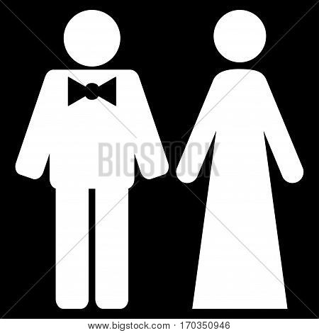 Just Married Persons vector icon symbol. Flat pictogram designed with white and isolated on a black background.