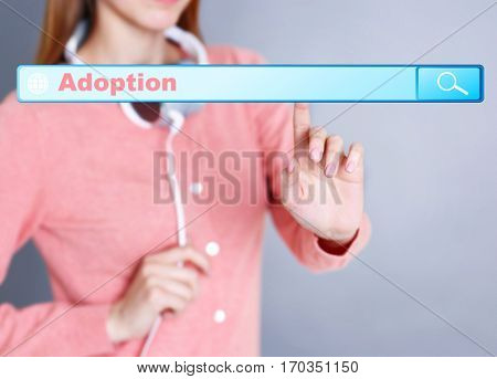 Adoption concept. Female hand pushing on search box