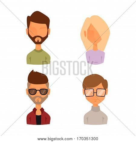 Set of people portrait face icons web avatars flat style. Vector women, men blocked or unknown anonymous silhouette. Business manager character illustration.