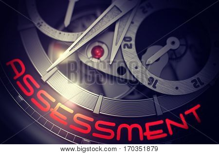 Assessment on Face of Elegant Wristwatch, Chronograph Close-Up. Luxury Wrist Watch Machinery Macro Detail with Inscription Assessment. Work Concept with Glow Effect and Lens Flare. 3D Rendering.