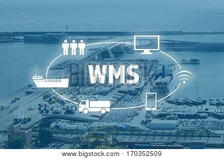 Warehouse management system concept. Port terminal background