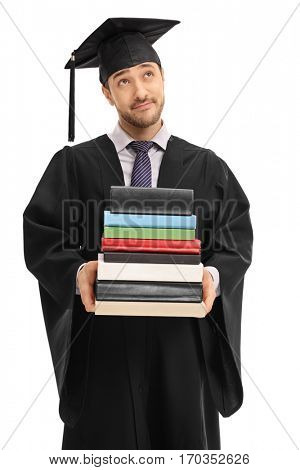 Pensive graduate student holding a stack of books isolated on white background
