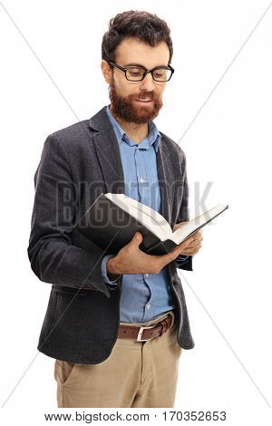 Bearded guy reading a book isolated on white background