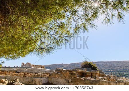 Ruins of ancient city Crete. Attractions of a beautiful city.