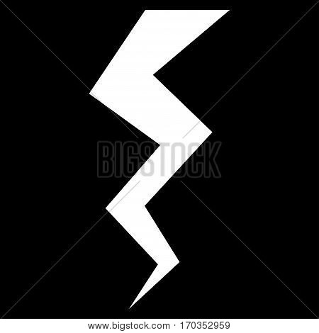Thunder Crack vector icon symbol. Flat pictogram designed with white and isolated on a black background.