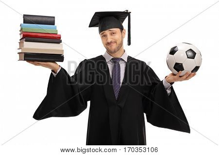 Indecisive graduate student holding a stack of books and a football isolated on white background
