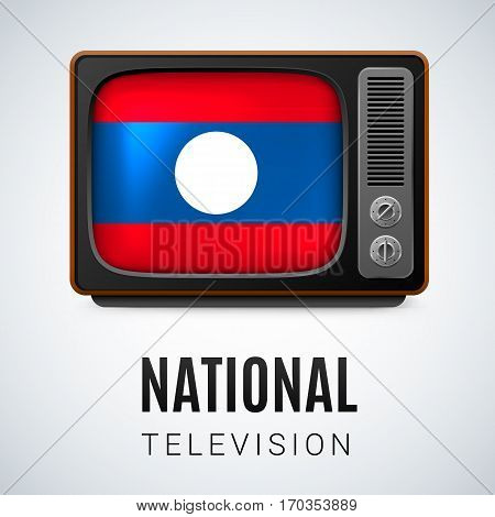 Vintage TV and Flag of Laos as Symbol National Television. Tele Receiver with Laotian flag