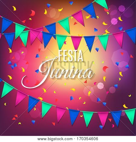 Festa Junina Party Greeting Design With Garland And Explosion Of Colored Confetti. Vector Illustrati