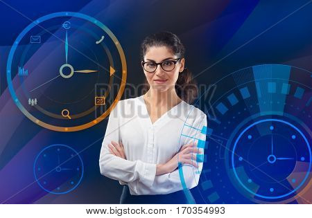 Business and time management concept. Mature woman on colorful background