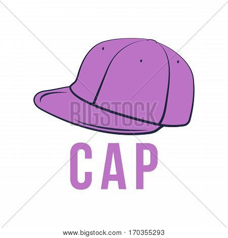 Icon cap. Vector isolated image of the headdress. The concept of street art. It can be used as prints, posters, printed materials, videos, mobile apps, web sites and print projects.