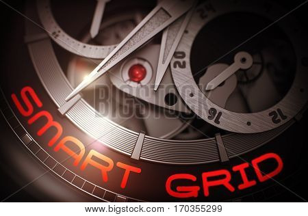 Smart Grid on Face of the Men Pocket Watch Close Up in Black and White. Toned Image. Smart Grid on the Automatic Men Watch Detail, Chronograph Close Up. Business Concept with Lens Flare. 3D Rendering.
