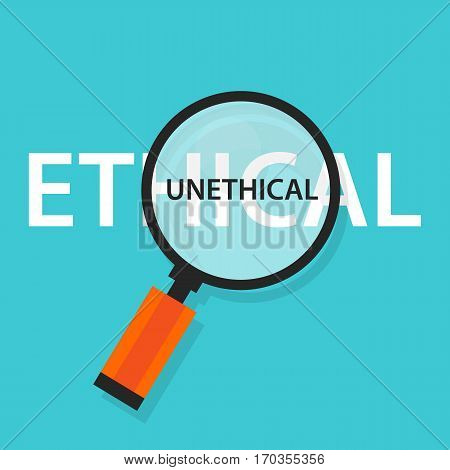Ethical unethical concept comparison for moral behavior vector