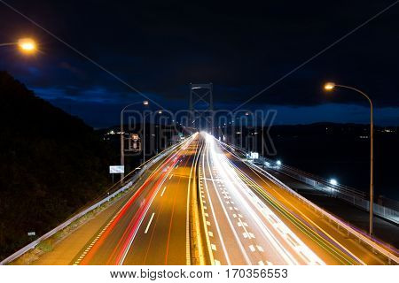 Highway with traffic at night