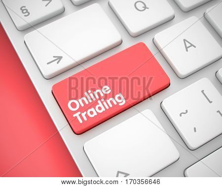 Online Trading Key on Keyboard Keys. with Red Background. White Keyboard Keypad Showing the Inscription Online Trading. Message on Keyboard Red Keypad. 3D Illustration.