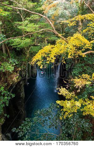 Autumn Takachiho gorge in Japan
