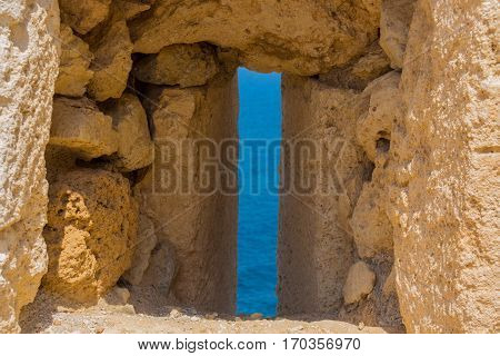 The Embrasure In Fortezza, Rethymno, Greece.