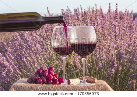A photo of red wine being poured from a bottle into a glass, in a lavender field. Toned image