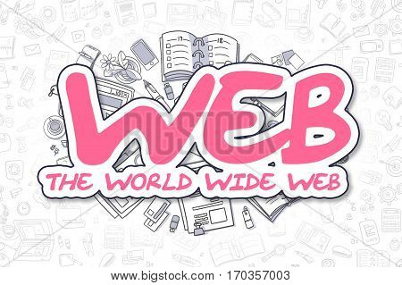 Web - The World Wide Web - Hand Drawn Business Illustration with Business Doodles. Magenta Text - Web - The World Wide Web - Doodle Business Concept.