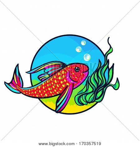 Bright Aquarium Fish. Tropical Animal art, cute cartoon style, vector hand drawn illustration. Suitable for pet shop or zoo ads, label design or animal food package element