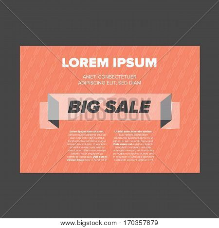 Big Sale banner with glass ribbon and red background