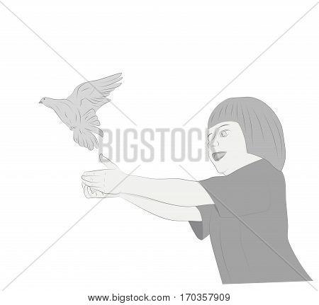 Girl of hands releasing a bird. vector illustration.