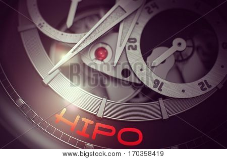 HIPO - High Potential Potential Opportunity - Inscription on Old Pocket Watch with Visible Mechanism, Clockwork Closeup. Luxury, Mens Vintage Accessory. Business and Work Concept. 3D.