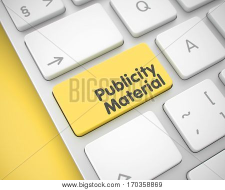Service Concept: Publicity Material on the Modern Keyboard lying on Yellow Background. Message on the Keyboard Enter Keypad, for Publicity Material Concept. 3D.
