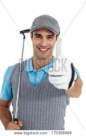 Portrait of golf player showing thumbs up on white background