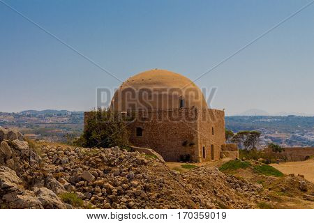 Rethymno Greece - July 30 2016: The Mosque of Sultan Ibrahim Han (former Venetian Cathedral of San Niccol) in Fortezza Castle.