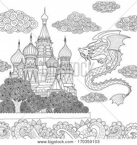 Dragon flying above russian cathedral on floral ocean for adult coloring book page